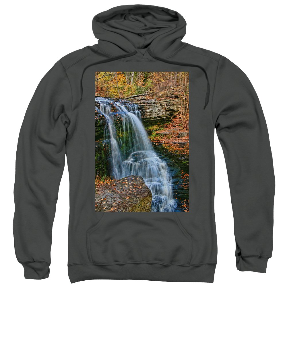 Waterfall Sweatshirt featuring the photograph Fulmer Falls - Childs State Park by Allen Beatty