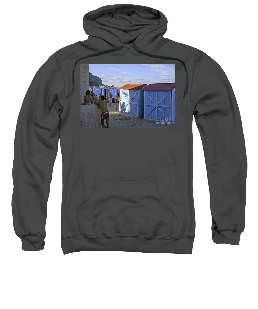 Cabana Sweatshirt featuring the photograph Fun At Mondello Beach by Madeline Ellis