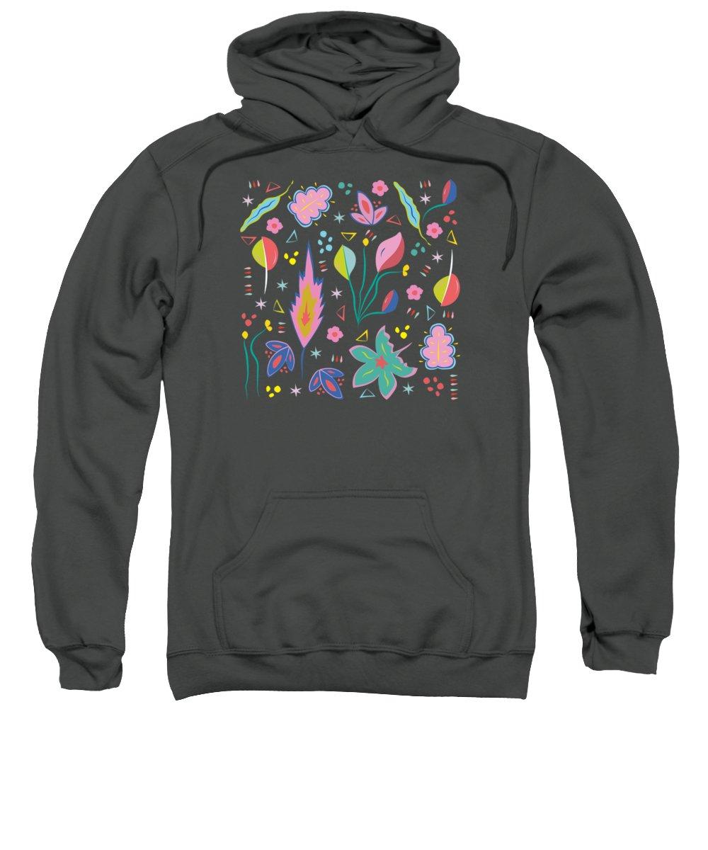 Leaf Sweatshirt featuring the digital art Fun In The Garden by Elizabeth Tuck