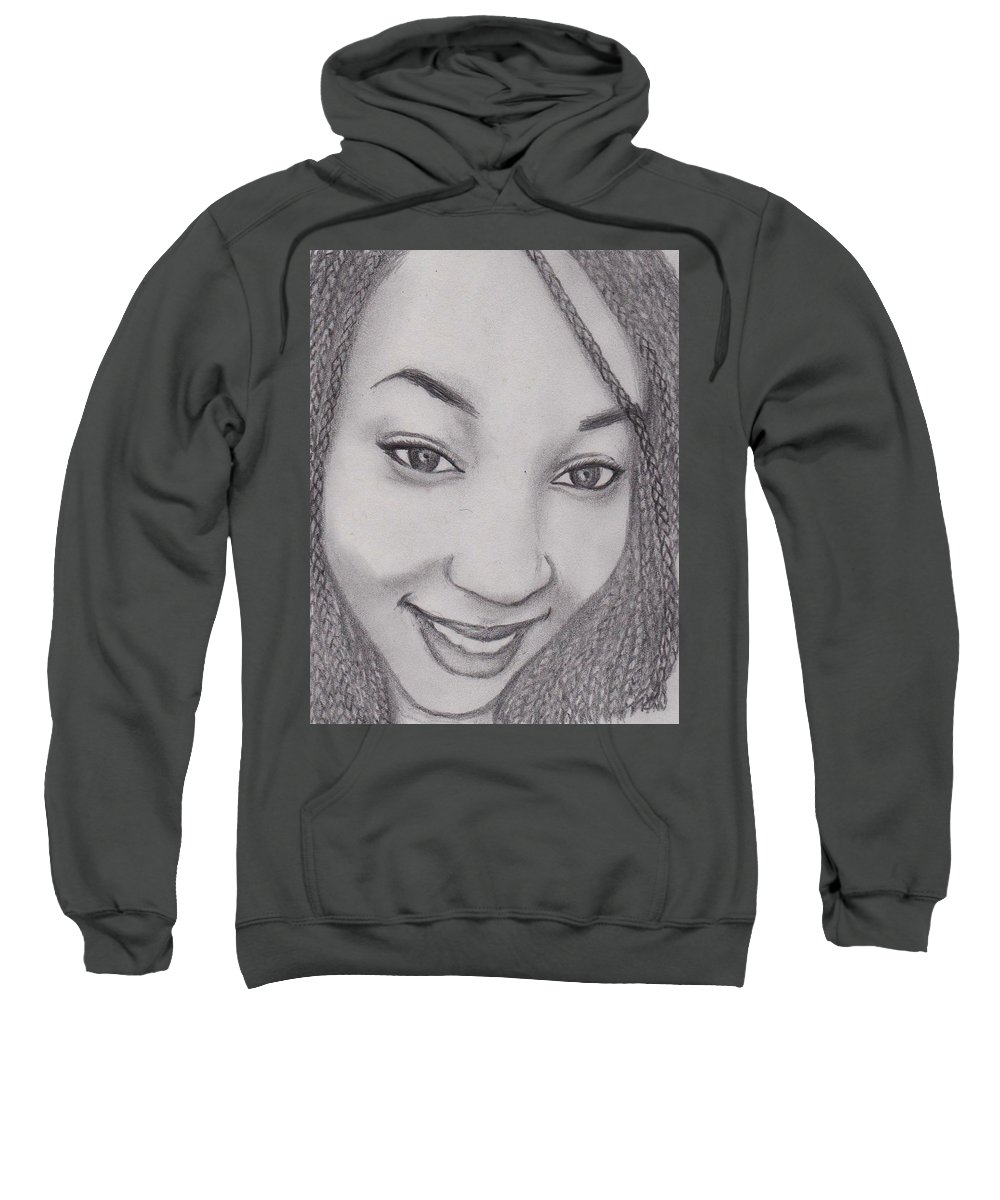 Smile Sweatshirt featuring the drawing Gaella by Toualith MEANGO