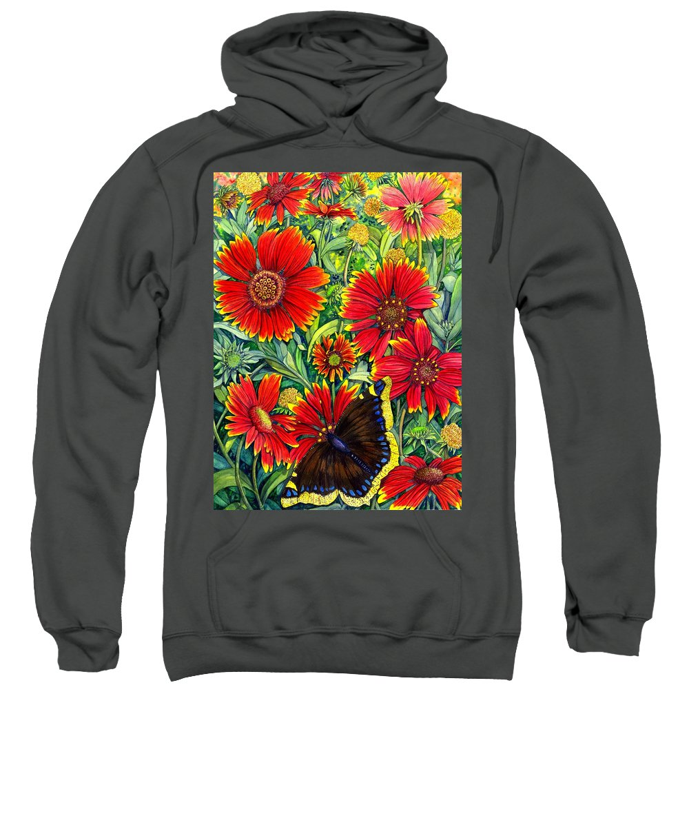 Butterfly Sweatshirt featuring the painting Gaillardia by Catherine G McElroy