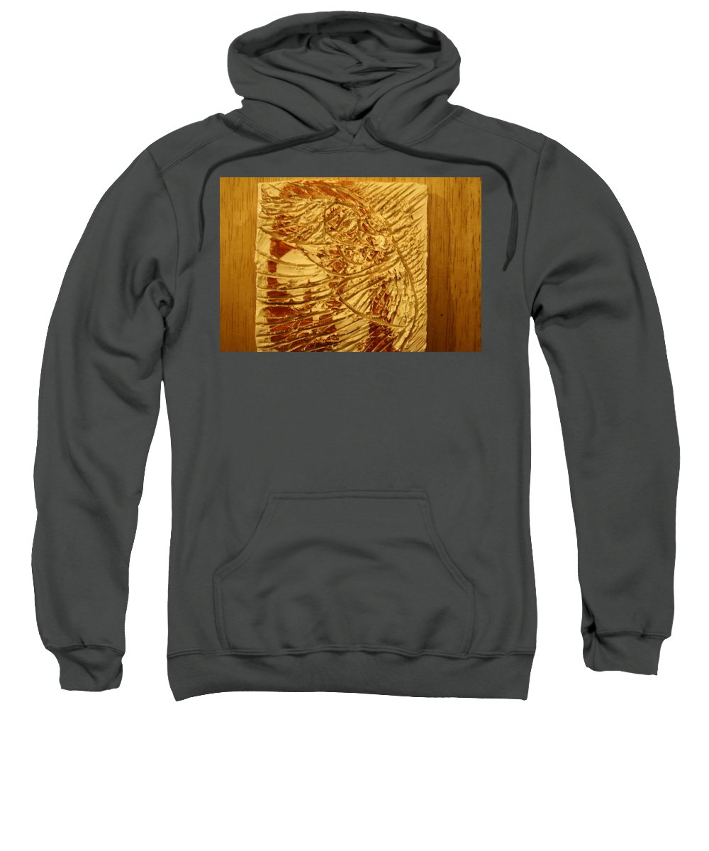 Jesus Sweatshirt featuring the ceramic art Gal- Tile by Gloria Ssali