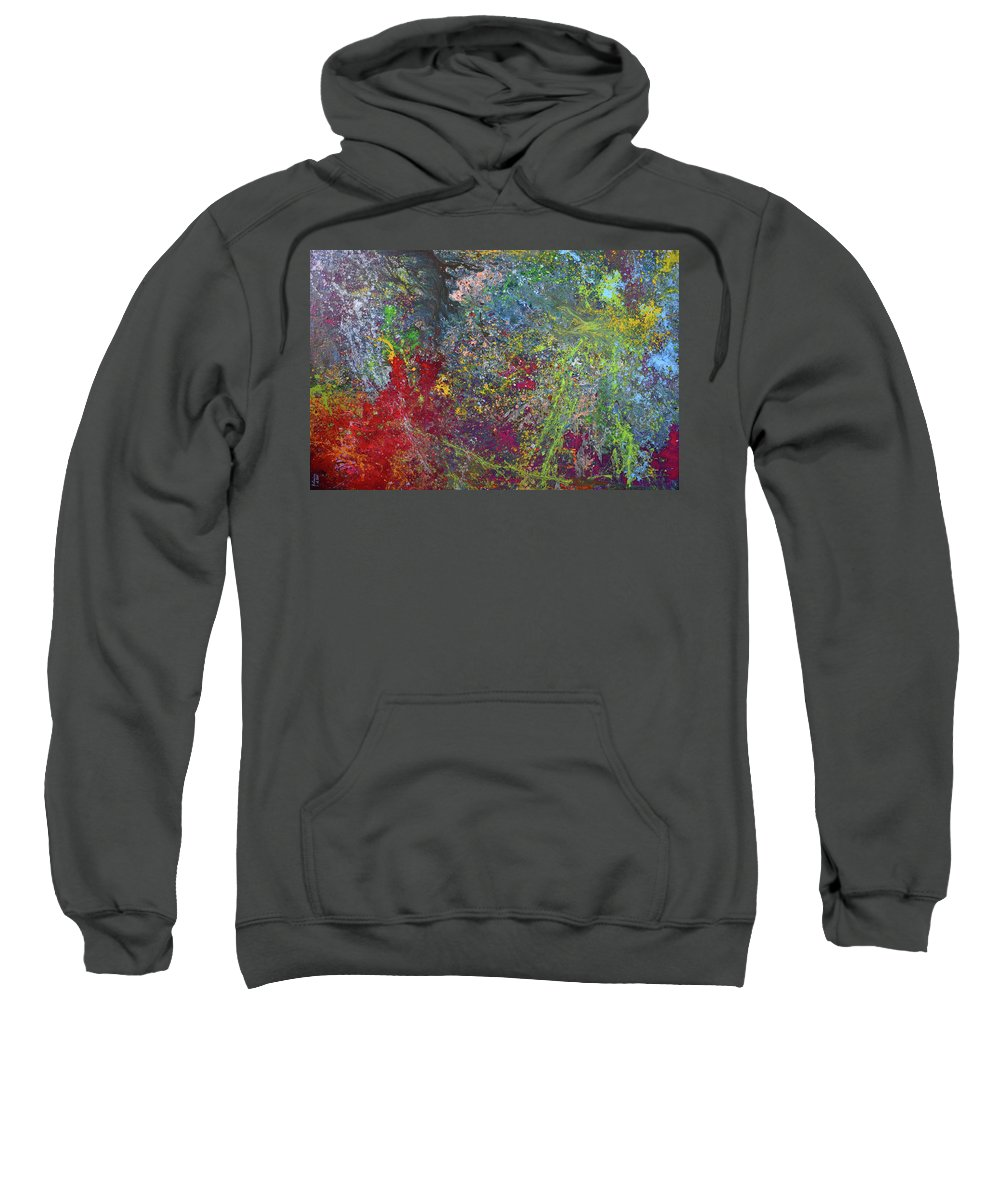 Abstract Art Sweatshirt featuring the painting Galactic Spring_by Aatmica by Aatmica Ojha