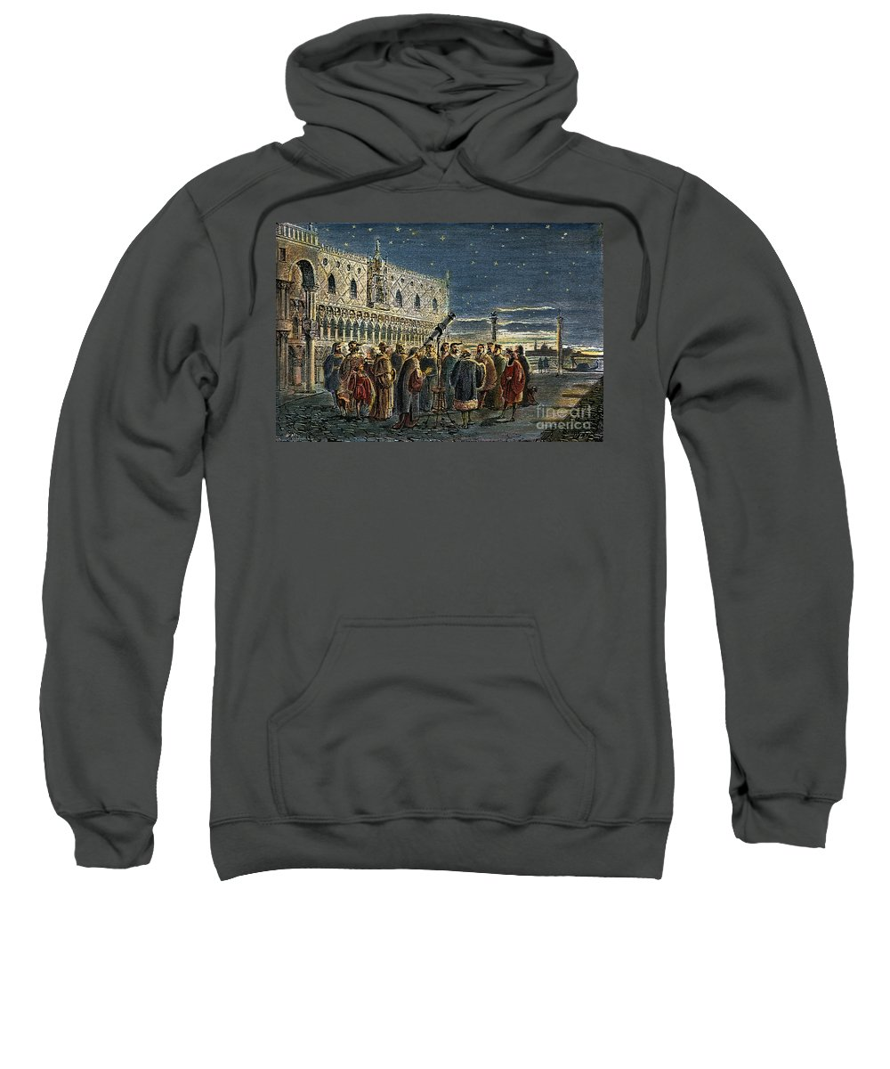 1609 Sweatshirt featuring the drawing Galileo Galilei, 1564-1642 by Granger