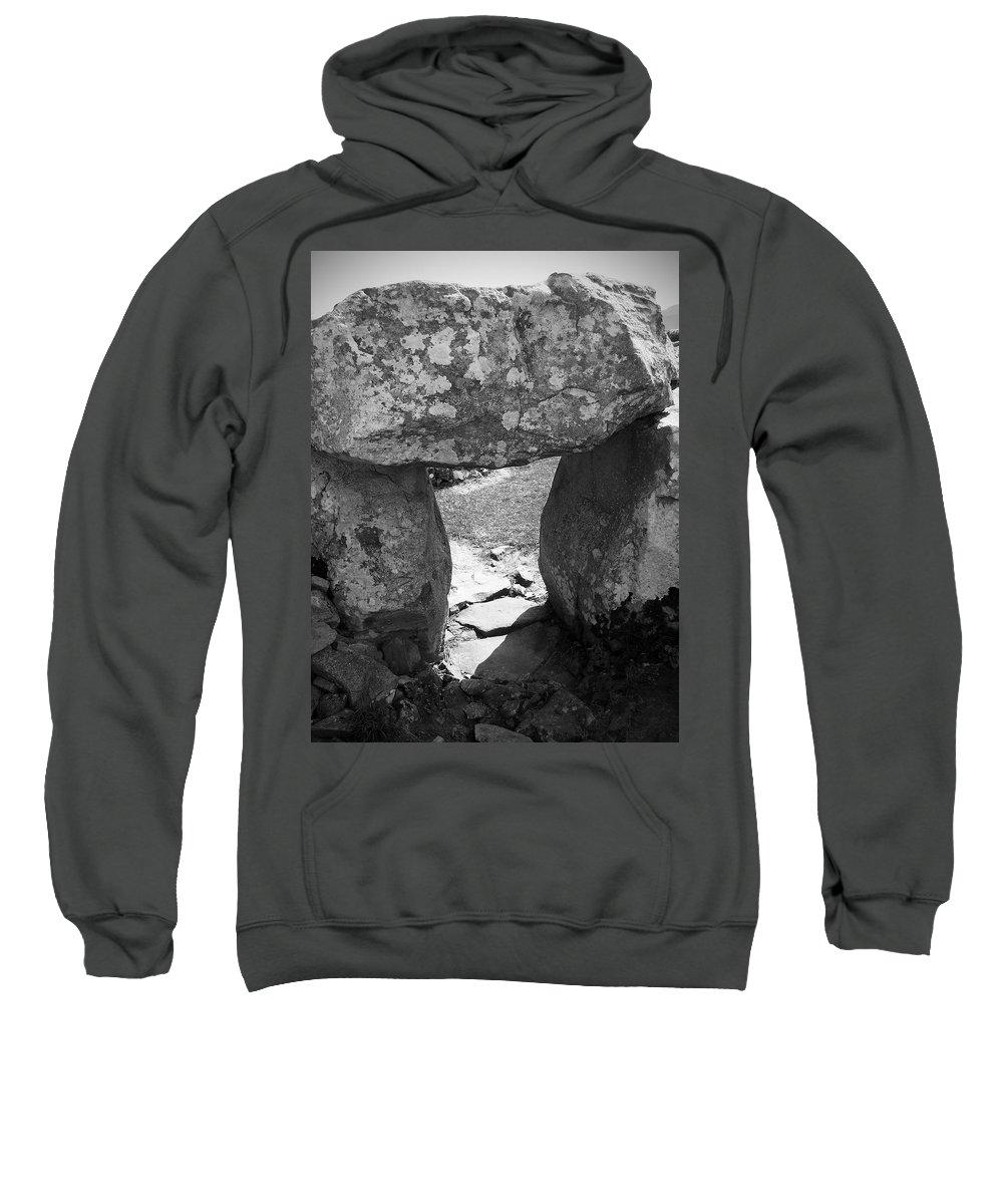 Ireland Sweatshirt featuring the photograph Gallery Entrance At Creevykeel Court Cairn Ireland by Teresa Mucha