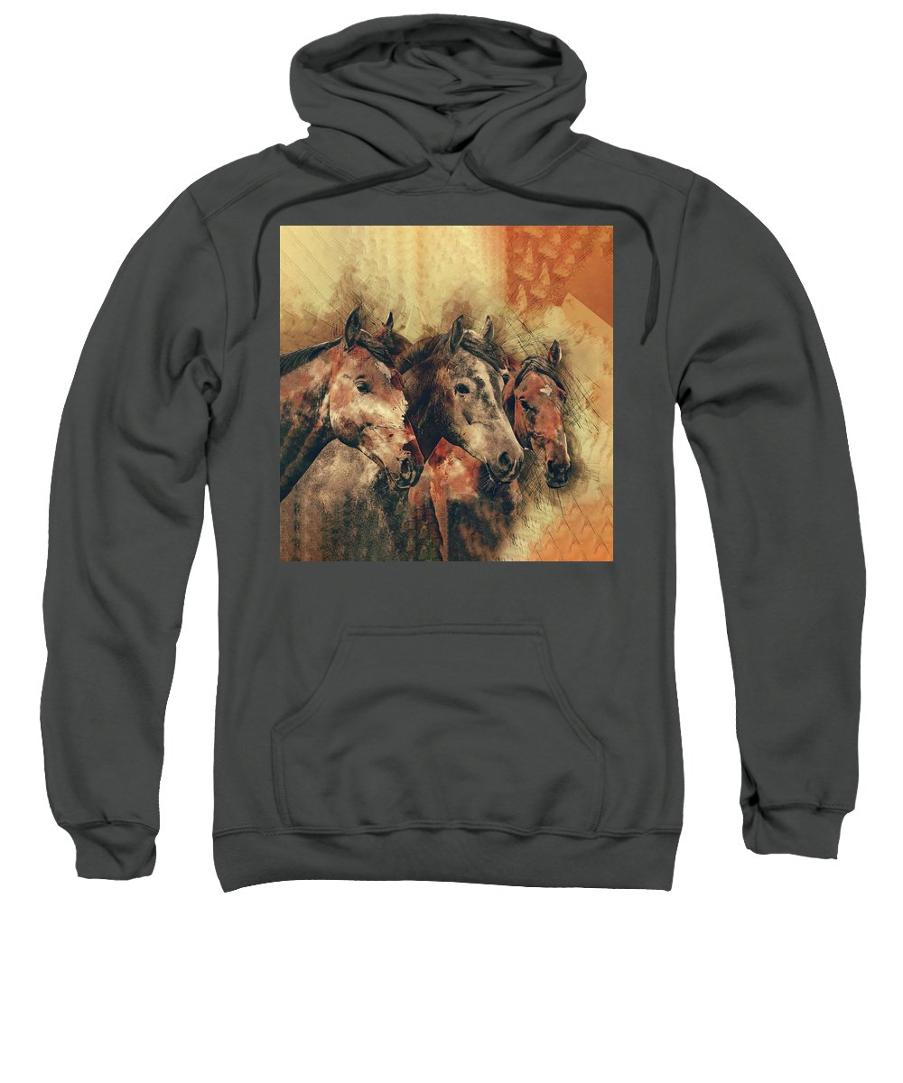 Animal Sweatshirt featuring the painting Galloping Wild Mustang Horses by Elaine Plesser