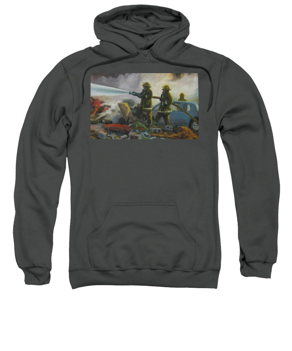 Firefighters Sweatshirt featuring the painting Garage Fire by John Malone