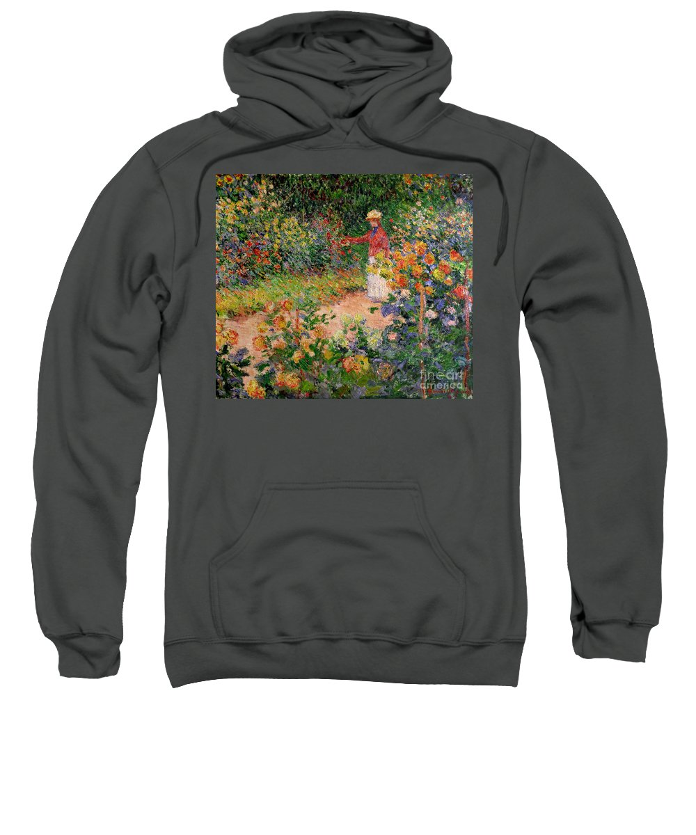 Garden At Giverny Sweatshirt featuring the painting Garden At Giverny by Claude Monet