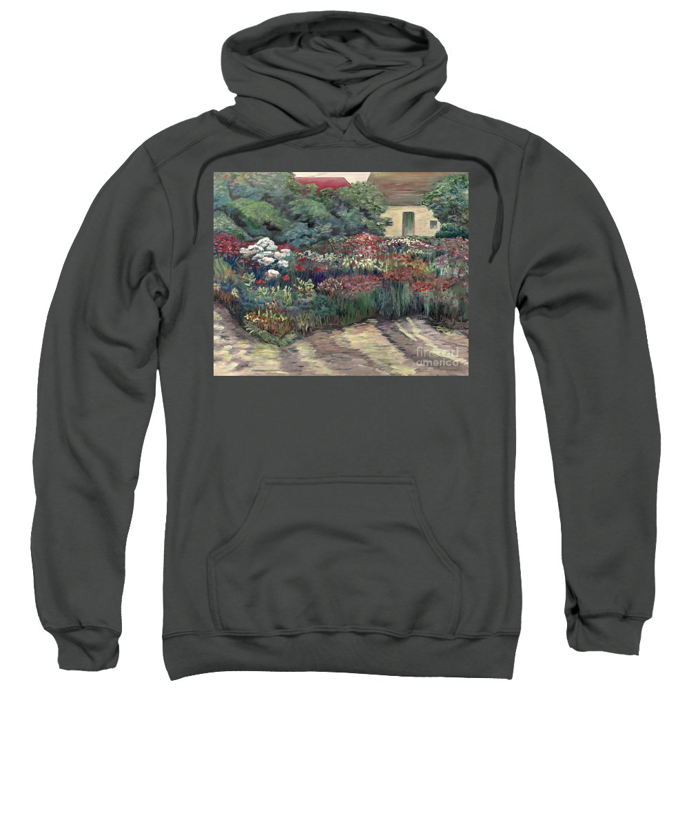 Breck Sweatshirt featuring the painting Garden At Giverny by Nadine Rippelmeyer