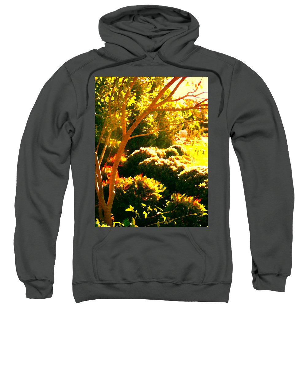 Landscapes Sweatshirt featuring the painting Garden Landscape On A Sunny Day by Amy Vangsgard