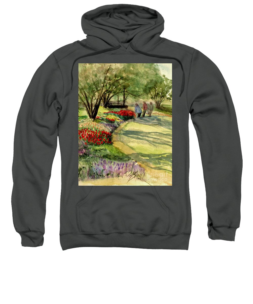 Flowers Sweatshirt featuring the painting Garden Walk by Marilyn Smith