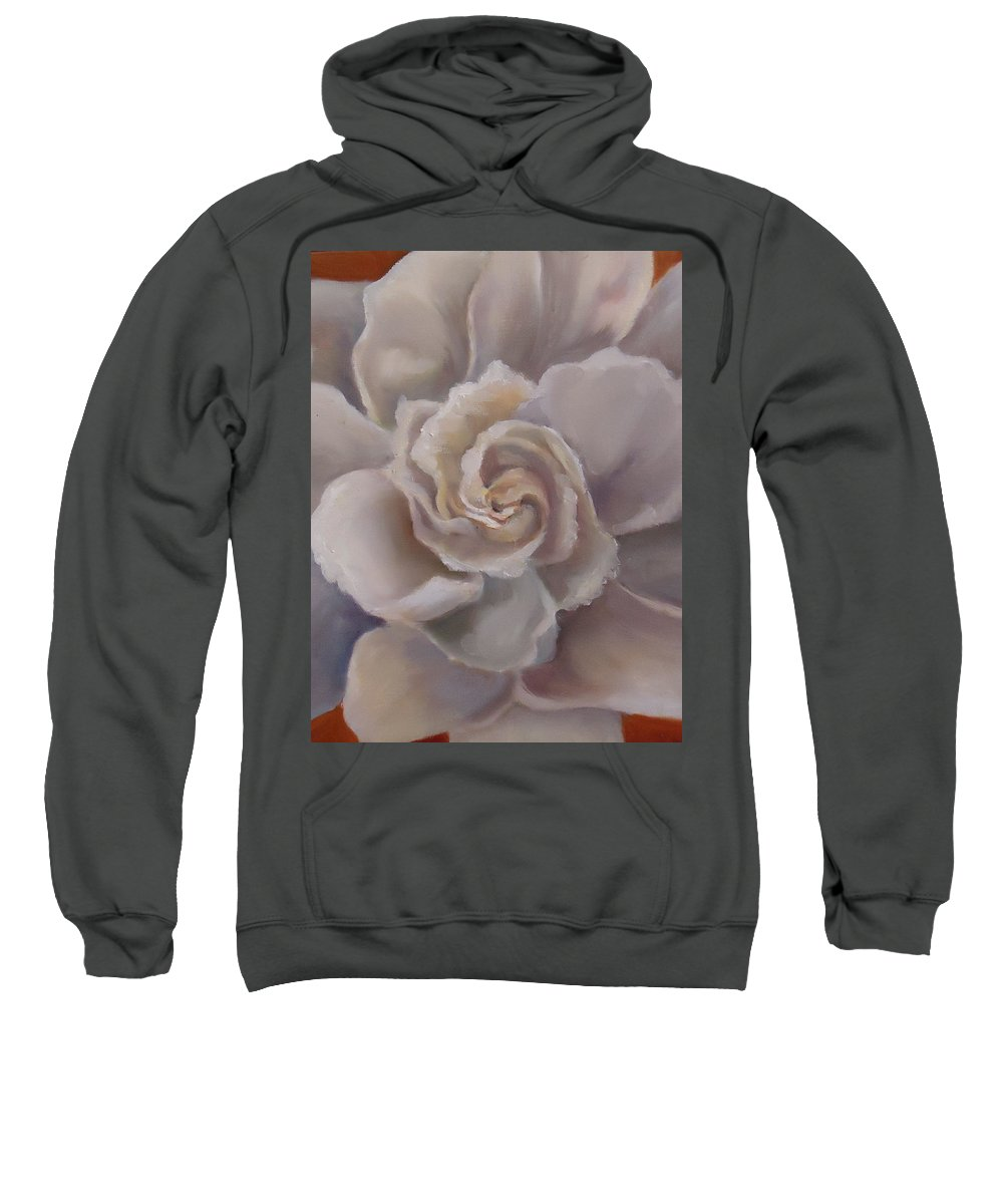 A Bloom That Scents The South. Gardenia Sweatshirt featuring the painting Gardenia Bloom by Charme Curtin