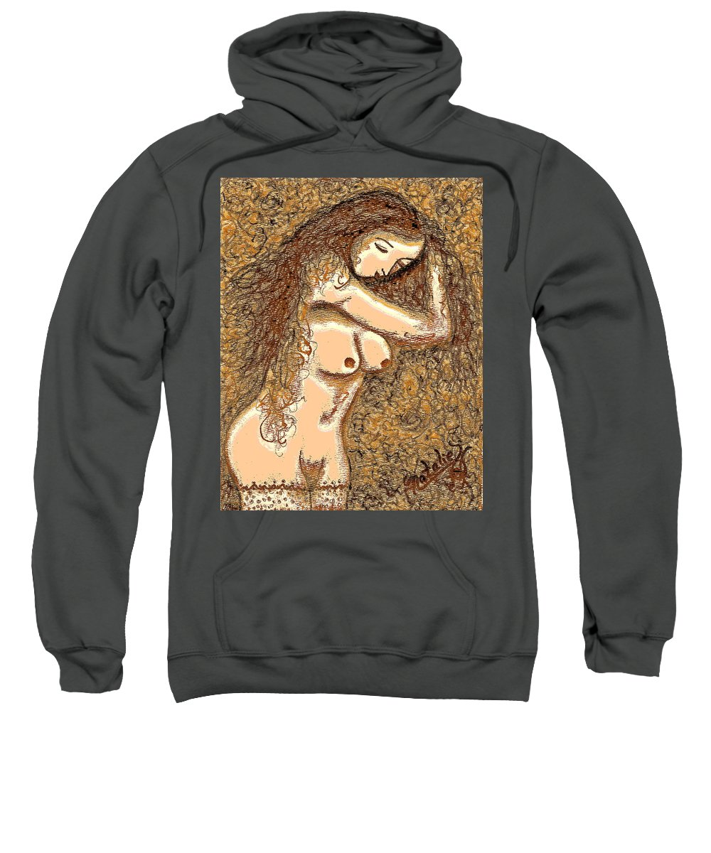 Nude Sweatshirt featuring the painting Gardenia by Natalie Holland