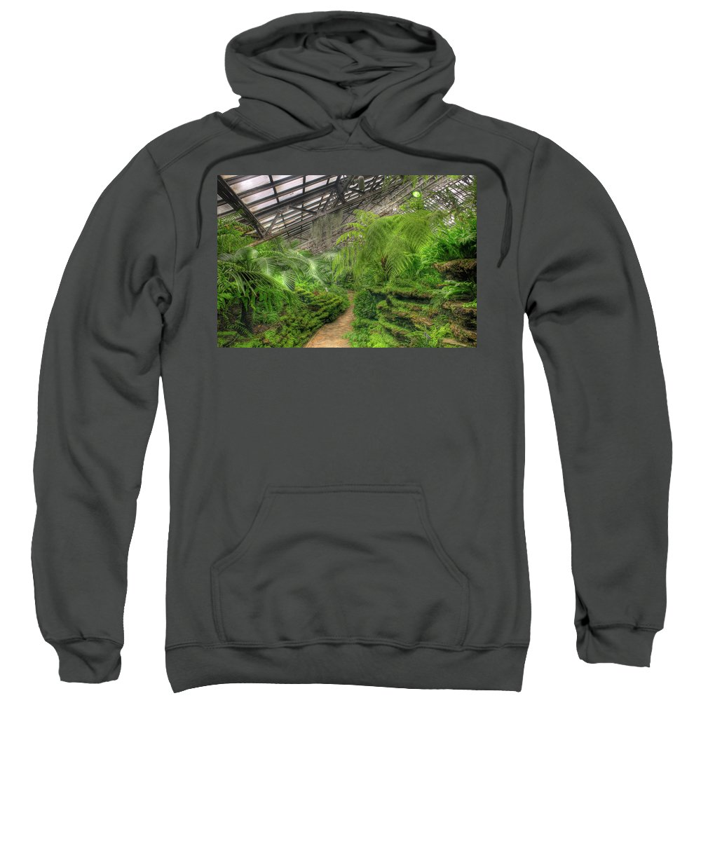 Garfield Sweatshirt featuring the photograph Garfield Park Conservatory Path Chicago by Steve Gadomski