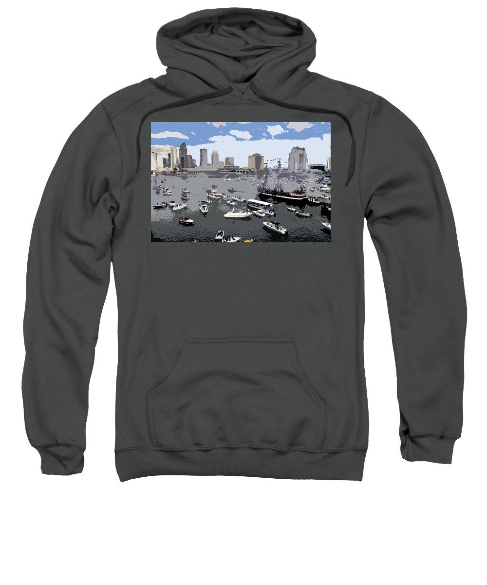 Gasparilla Sweatshirt featuring the painting Gasparilla Invasion Work Number 3 by David Lee Thompson