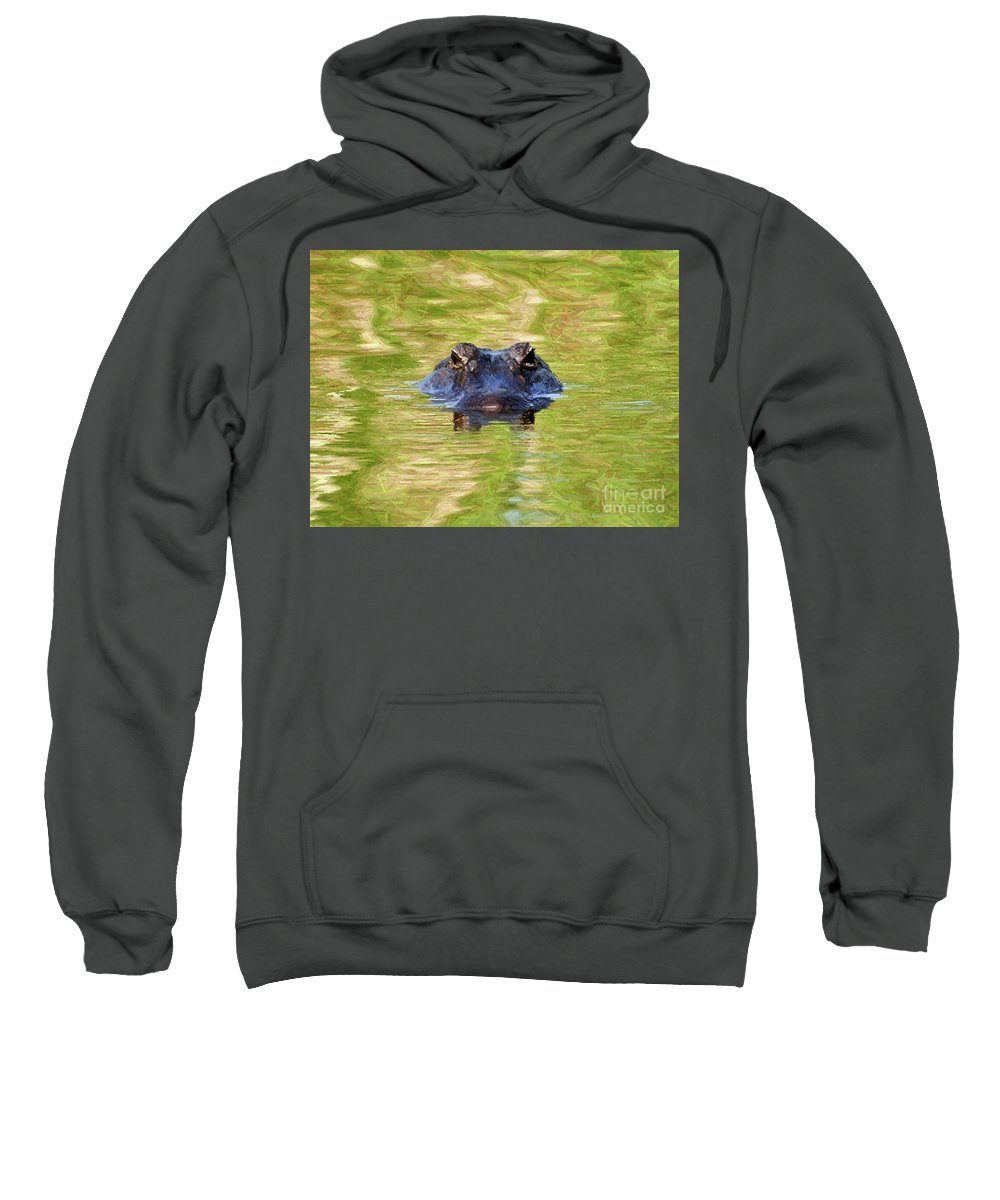 Gator Sweatshirt featuring the photograph Gator In The Green - Digital Art by Al Powell Photography USA