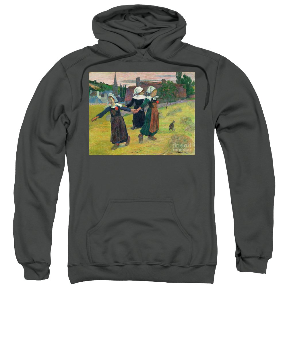 1888 Sweatshirt featuring the painting Gauguin, Breton Girls, 1888 by Granger