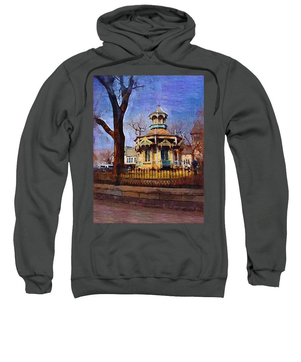 Architecture Sweatshirt featuring the digital art Gazebo And Tree by Anita Burgermeister