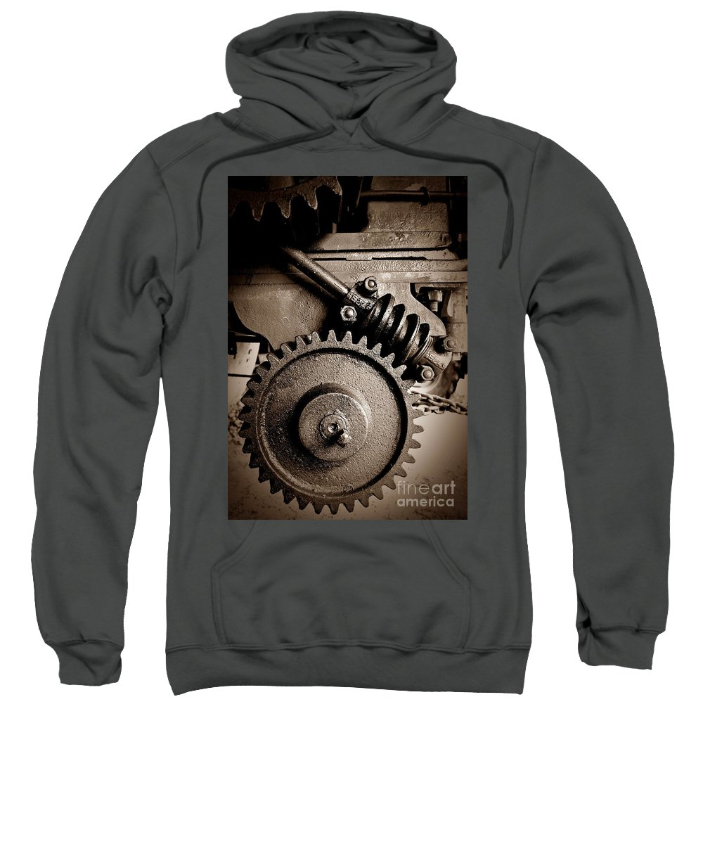 Gear In Sepia Sweatshirt featuring the photograph Gear In Sepia by Chalet Roome-Rigdon