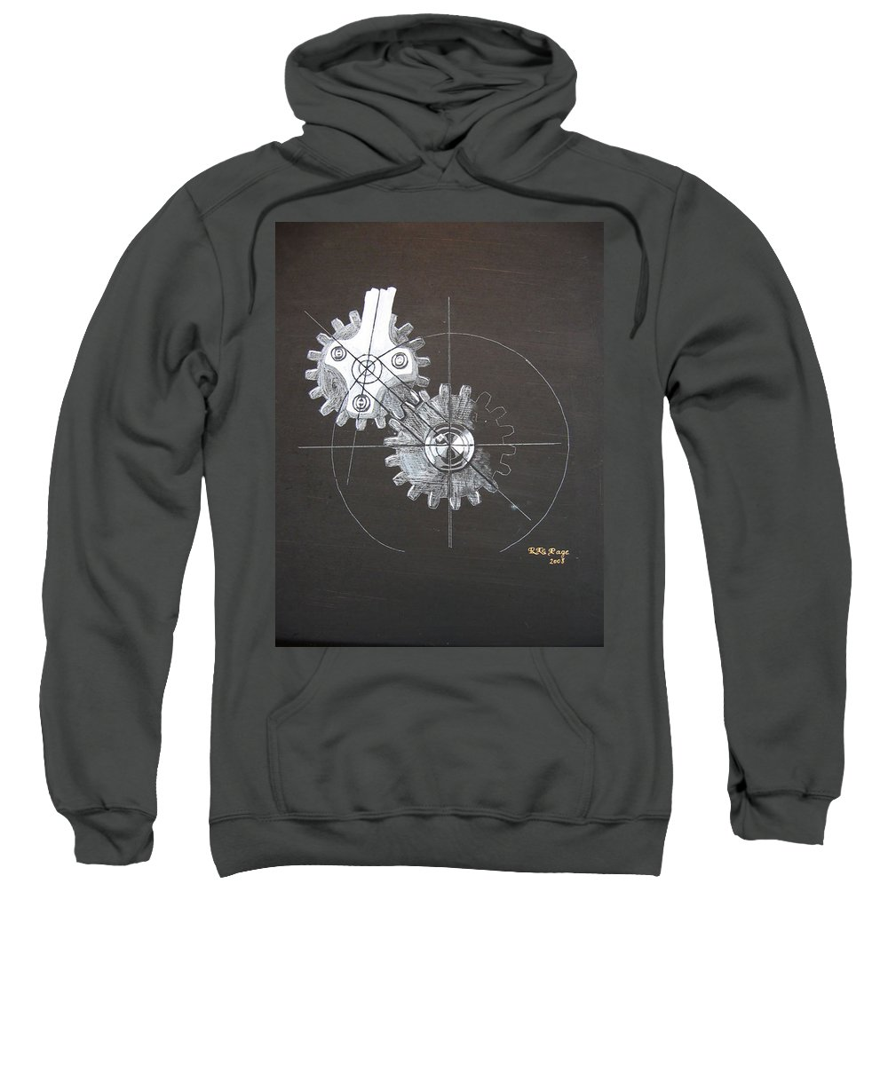 Gears Sweatshirt featuring the painting Gears No1 by Richard Le Page