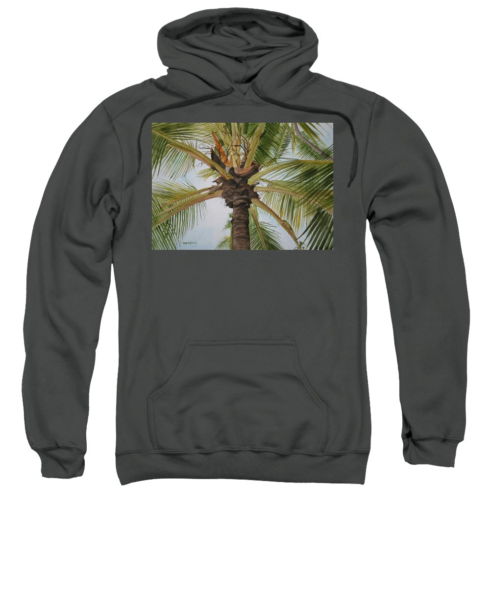 Palm Tree Sweatshirt featuring the painting Gecko Heaven by Jean Blackmer