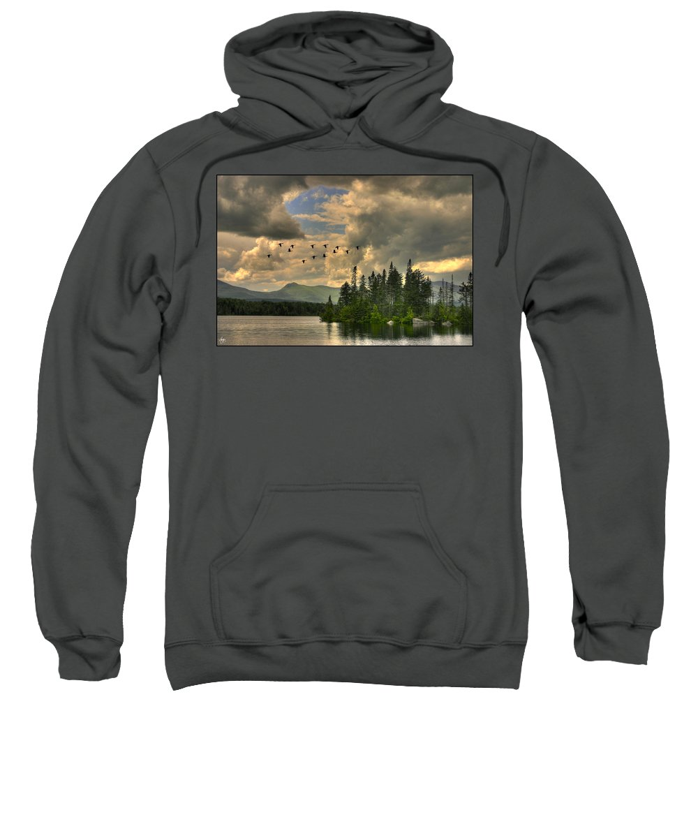 Geese Sweatshirt featuring the photograph Geese Over Jericho Lake by Wayne King