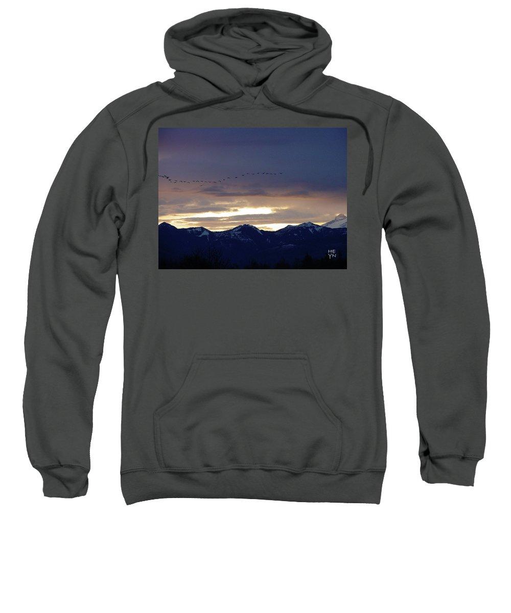 Cascade Sweatshirt featuring the photograph Geese Over The Cascades by Shirley Heyn