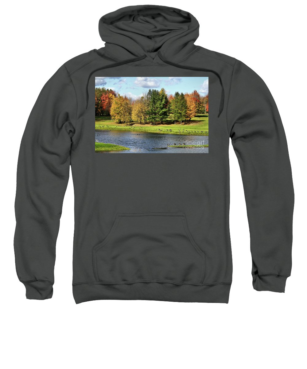 Fall Sweatshirt featuring the photograph Geese Sanctuary by Deborah Benoit