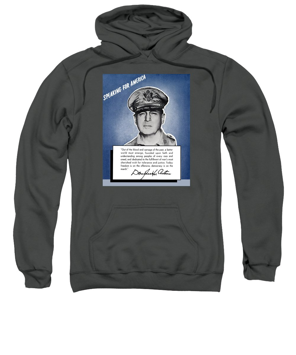 Douglas Macarthur Sweatshirt featuring the painting General Macarthur Speaking For America by War Is Hell Store