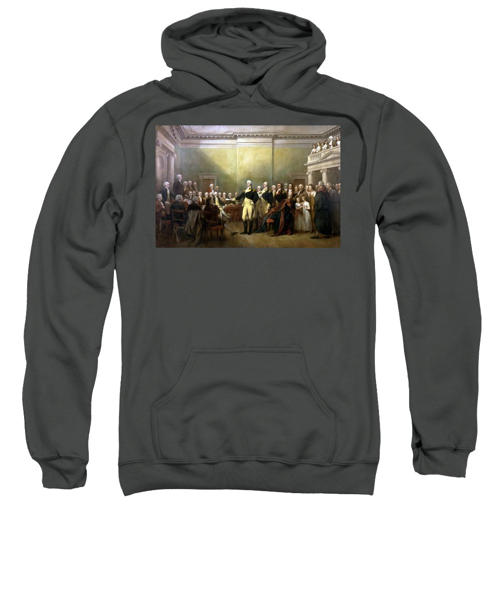 George Washington Sweatshirt featuring the painting General Washington Resigning His Commission by War Is Hell Store