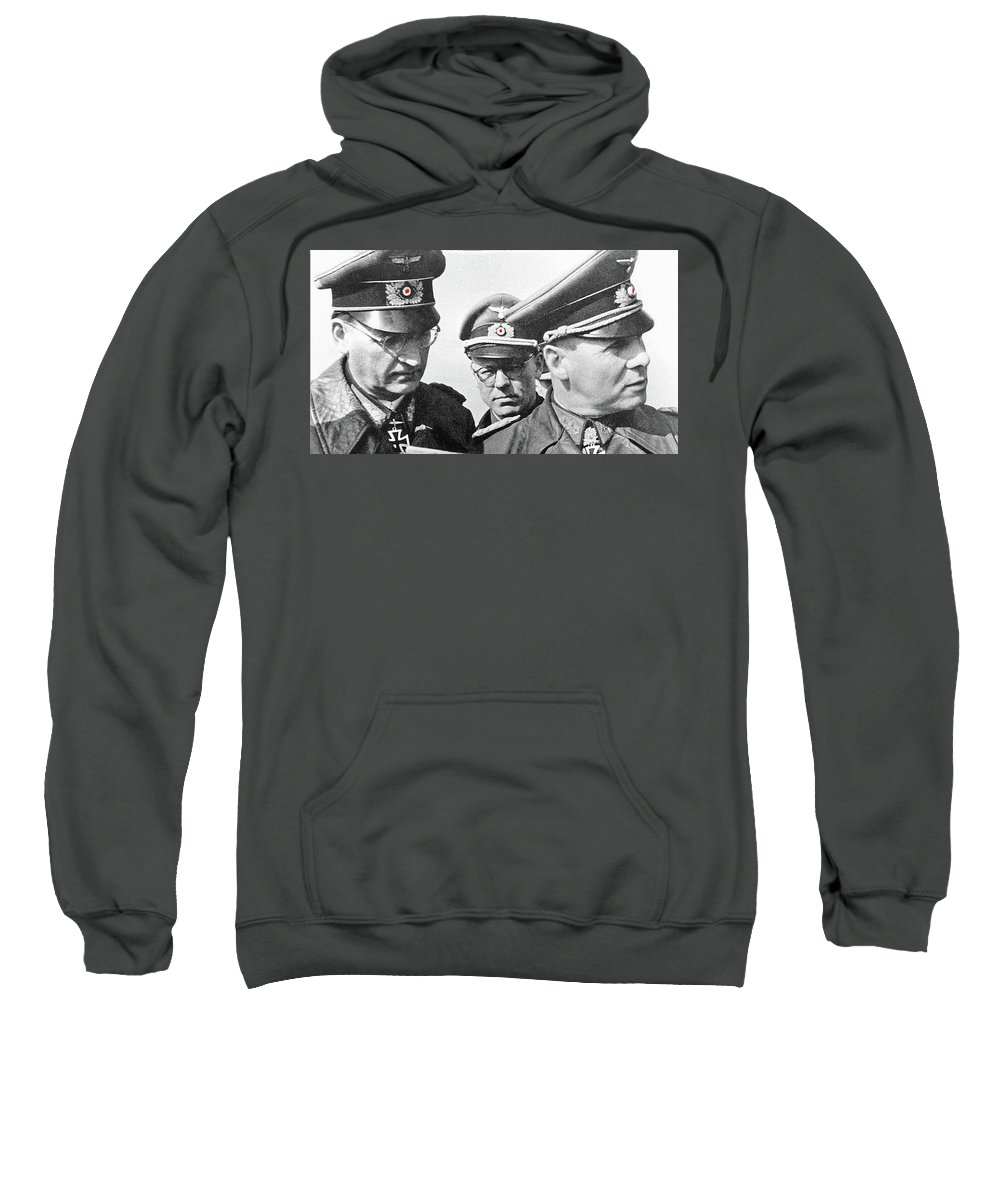 Generalfeldmarschall Erwin Rommel And Staff Number 1 North Africa 1942 Color Added 2016 Sweatshirt featuring the photograph Generalfeldmarschall Erwin Rommel And Staff Number 1 North Africa 1942 Color Added 2016 by David Lee Guss