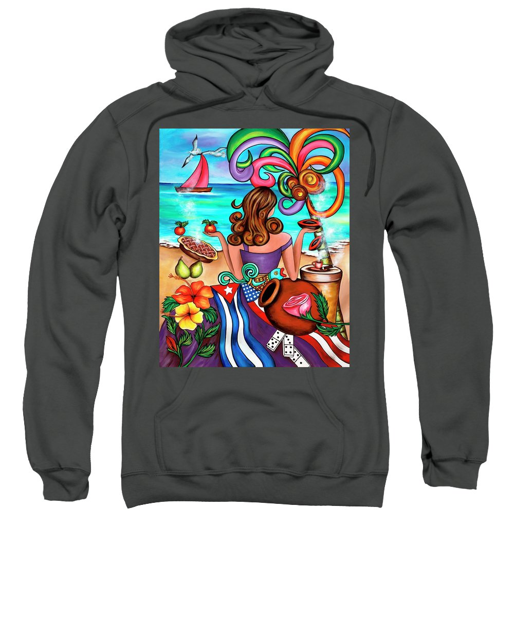 Cuba Sweatshirt featuring the painting Generation Spanglish by Annie Maxwell