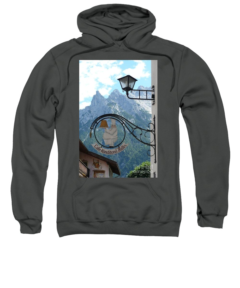 Bavarian Alps Sweatshirt featuring the photograph Germany - Cafe Sign by Carol Groenen