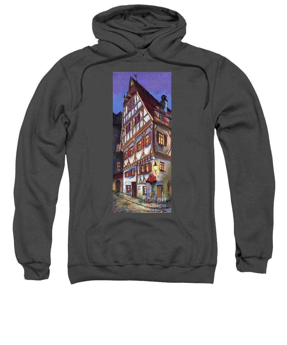 Pastel Sweatshirt featuring the painting Germany Ulm Old Street by Yuriy Shevchuk