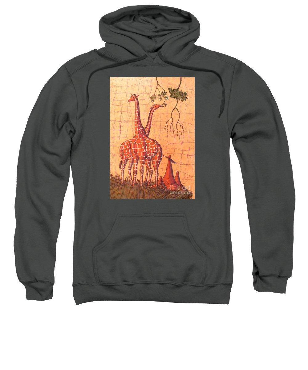 African Sweatshirt featuring the painting Giraffes Feeding by Peter Chikwondi