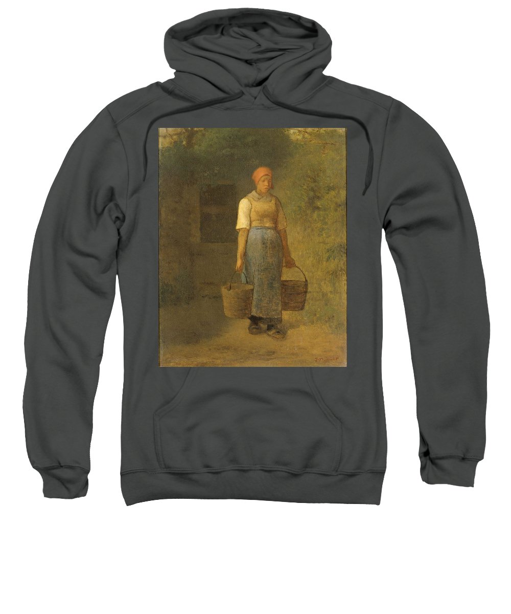Girl Carrying Water Sweatshirt featuring the painting Girl Carrying Water by Jean Francois Millet