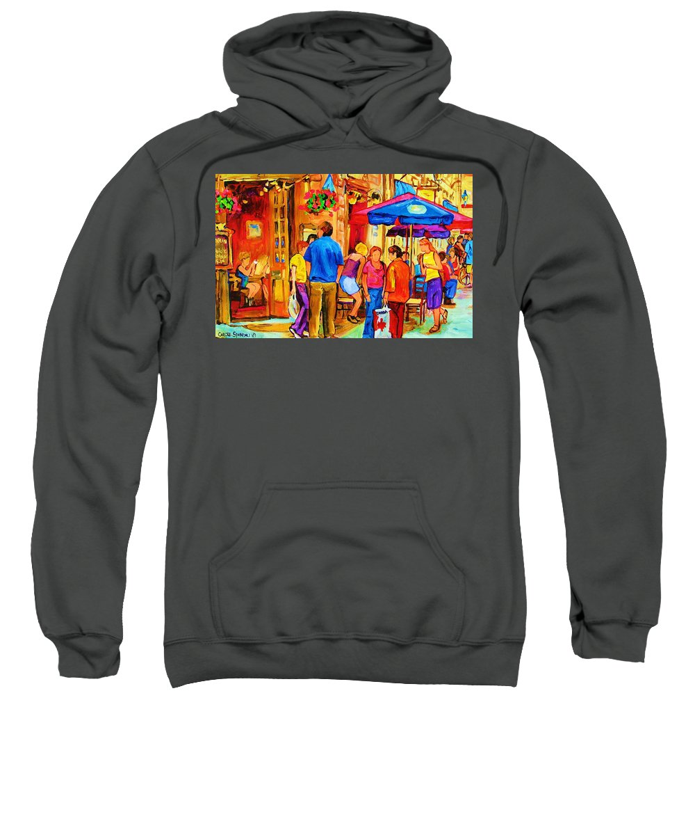 Montreal Cafe Scenes Sweatshirt featuring the painting Girl In The Cafe by Carole Spandau