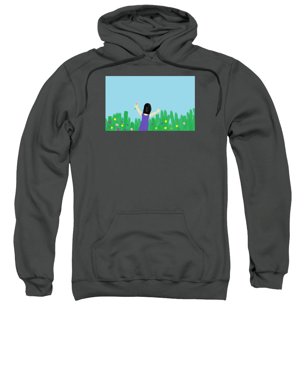 Children Sweatshirt featuring the digital art Girl In The Field Of Flowers by Arianna