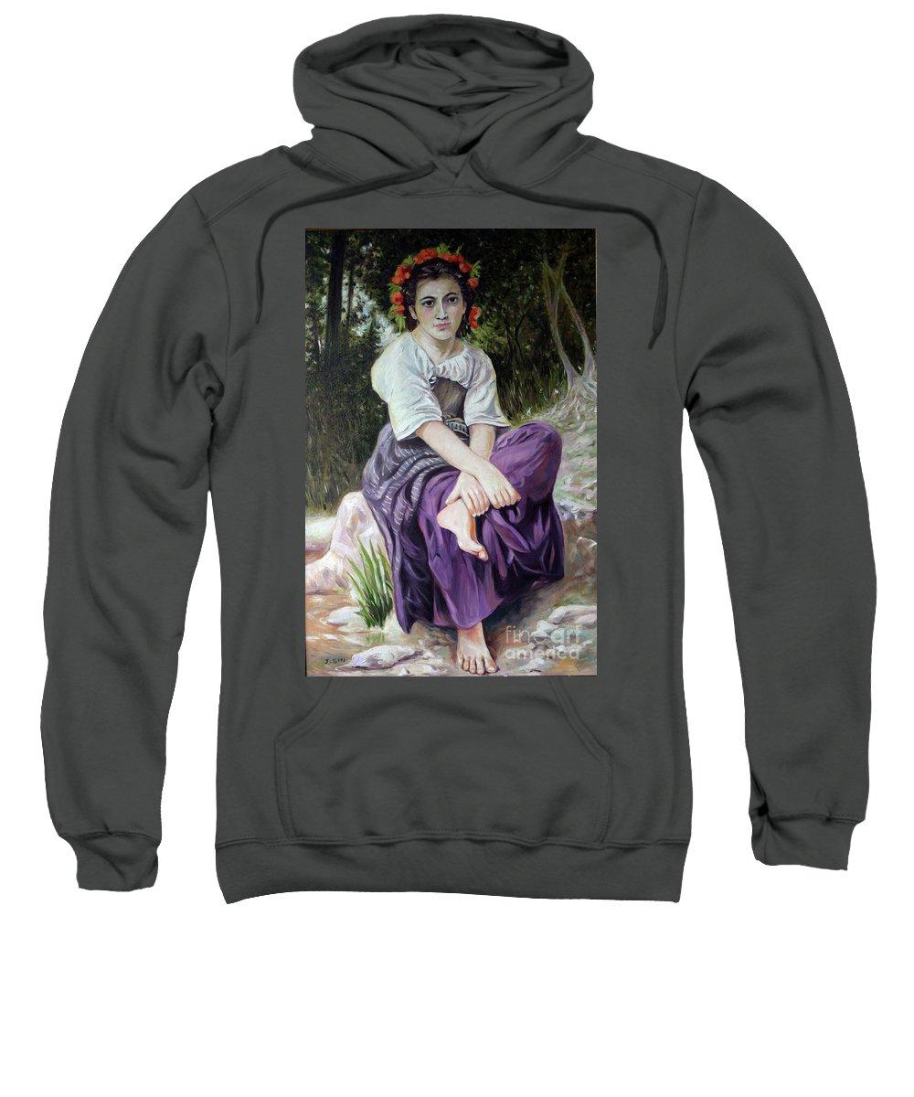 Portrait Sweatshirt featuring the painting Girl by Jian Shi