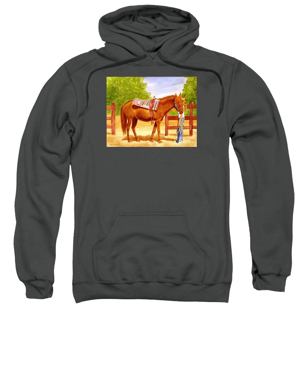 Equine Sweatshirt featuring the painting Girl Talk by Stacy C Bottoms