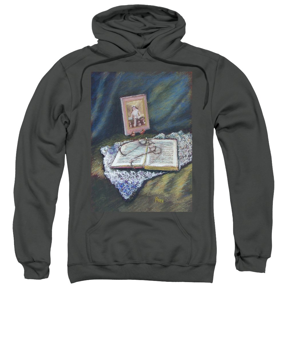 Still Life Sweatshirt featuring the painting Girl With A Book by Laurie Paci