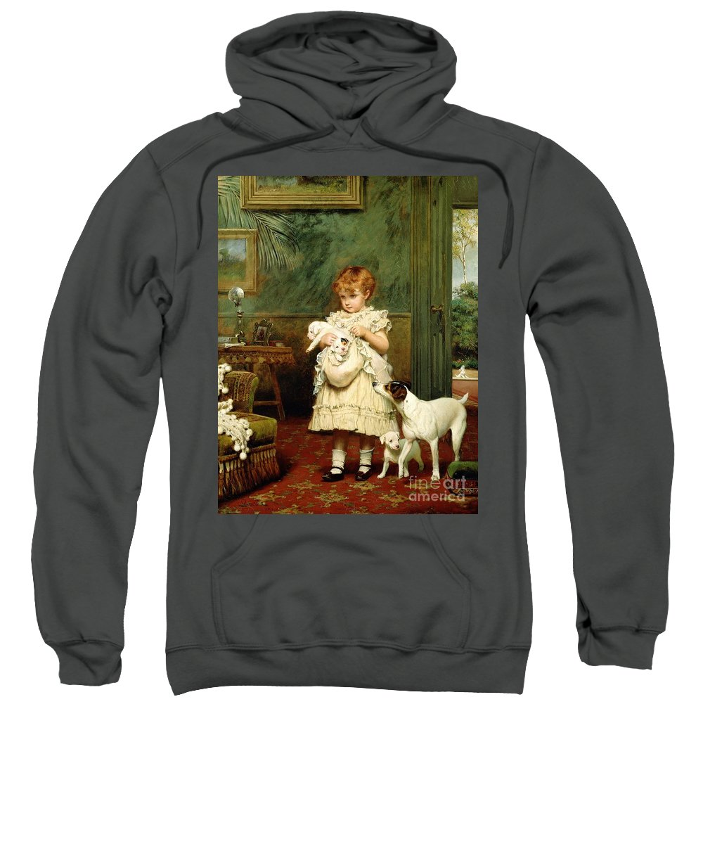 Girl With Dogs Sweatshirt featuring the painting Girl With Dogs by Charles Burton Barber