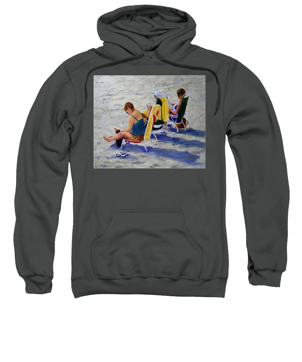 Figures Sweatshirt featuring the painting Girls Day At The Beach by Fran Rittenhouse-McLean