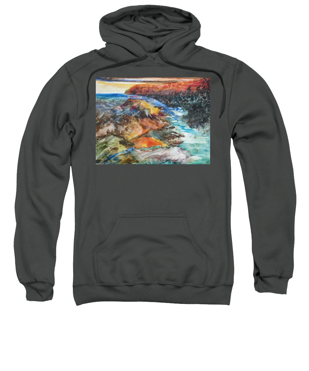 Abstract Sweatshirt featuring the painting Glacial Meltdown by Ruth Kamenev