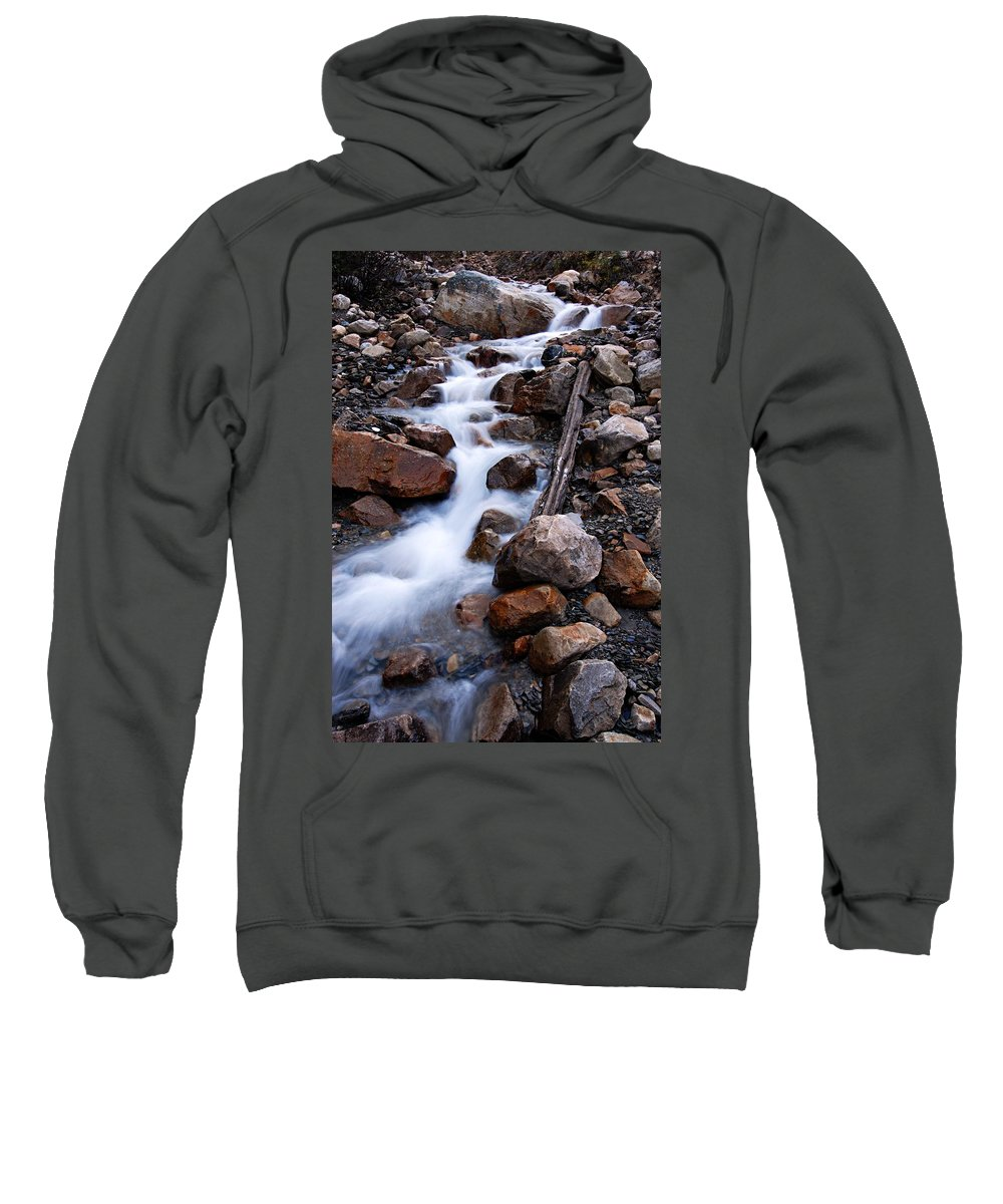 Glacial Stream Sweatshirt featuring the photograph Glacial Stream by Larry Ricker