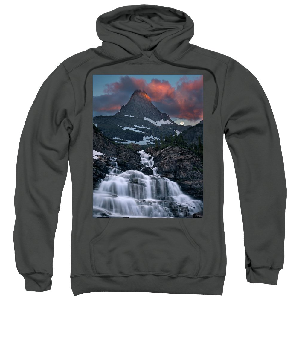 Clouds Sweatshirt featuring the photograph Glacier Morning Waterfall And Moonset by William Freebilly photography