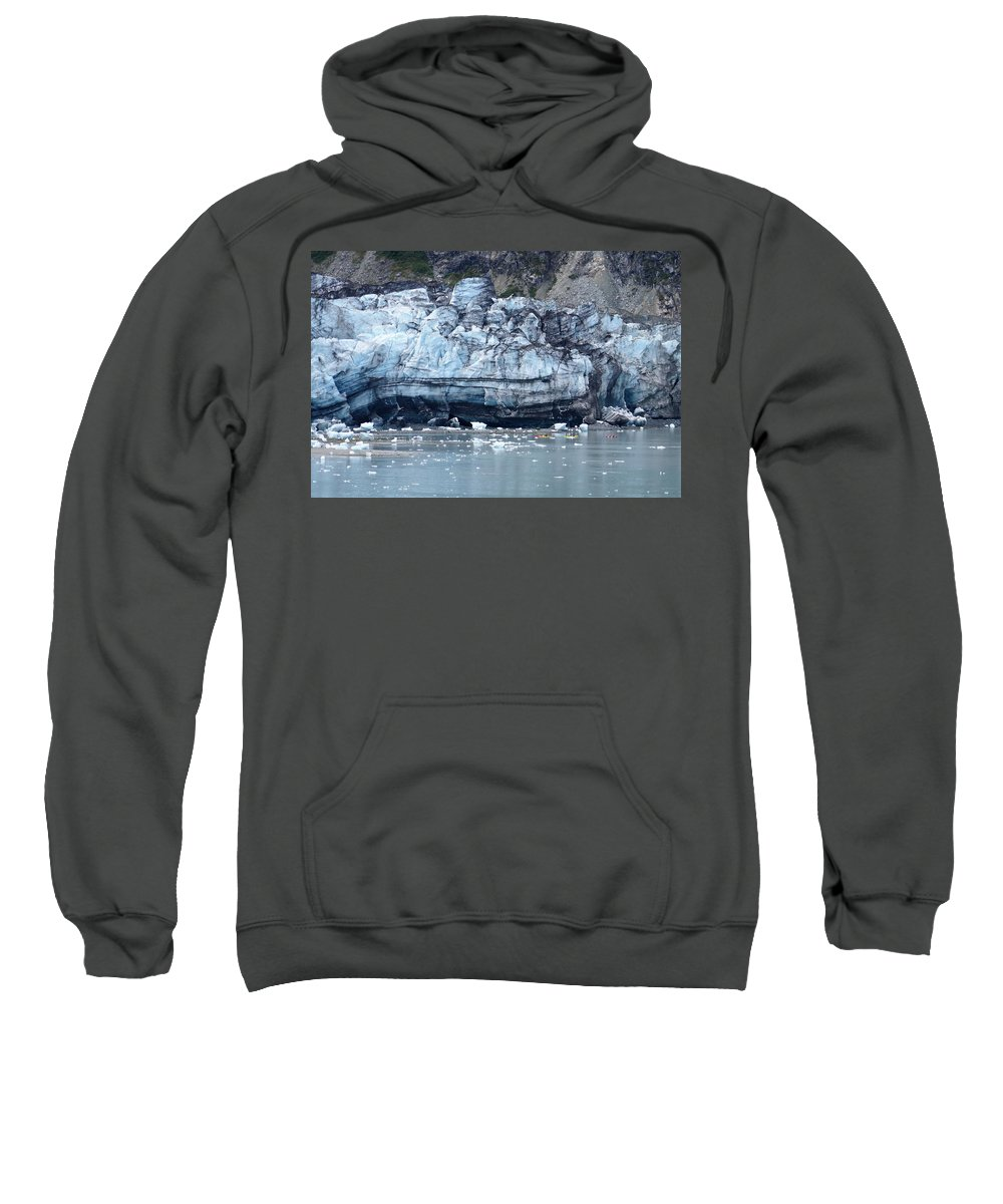 Glacier Sweatshirt featuring the photograph Glacier With Kayakers by Lawrence Birk