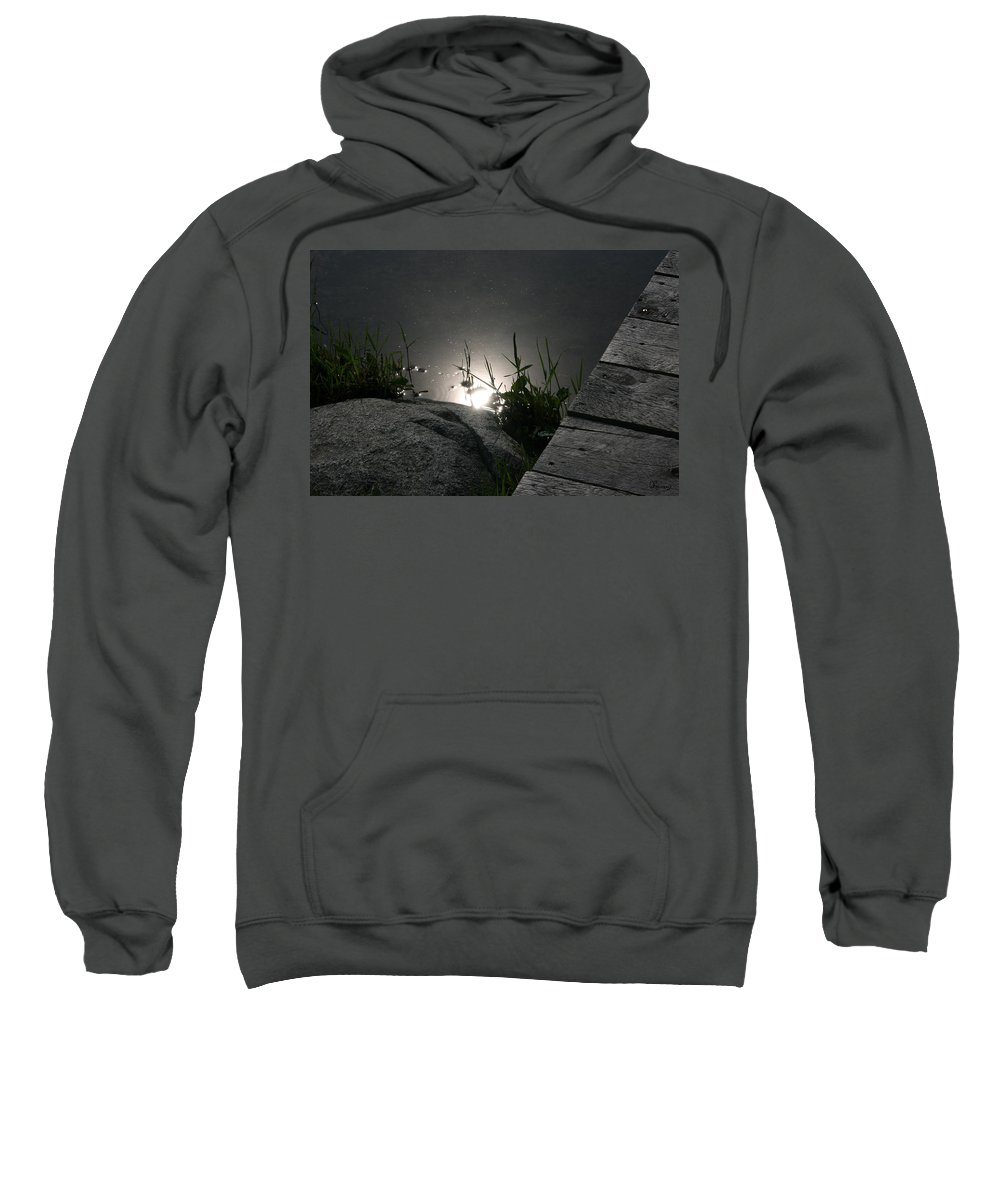 Dock Water Lake River Reeds Weeds Rocks Sun Refelection Shoreline Sweatshirt featuring the photograph Gleam by Andrea Lawrence