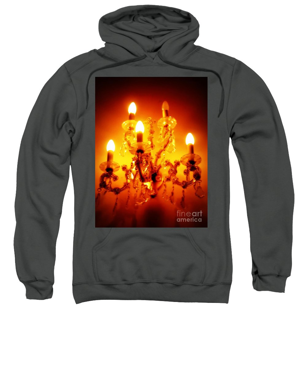 Dining Room Decor Sweatshirt featuring the photograph Glowing Chandelier--companion Piece by Carol Groenen