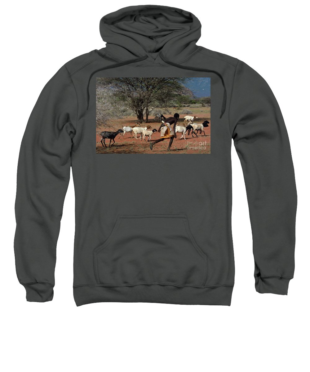 Africa Sweatshirt featuring the photograph Goat Chase by Morris Keyonzo